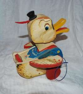 VINTAGE FISHER PRICE WOOD PULL TOY DUCK DR DOODLE