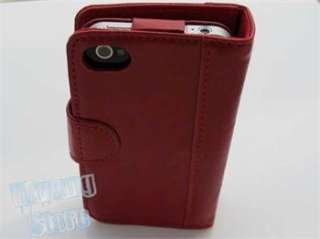 Red Smart Book 2 in 1 Leather Wallet Case W/Camera Hole Cover for