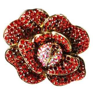 Red Pave Rose Flower Swarovski Crystal 3pc Necklace Set