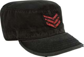 NEW VINTAGE RED STRIPES MILITARY ARMY FATIGUE CAP HATS