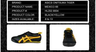 HL202.9004] ASICS ONITSUKA TIGER MEXICO 66 MENS BLACK/YELLOW SIZES 8