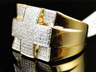 MENS YELLOW GOLD FINISH REAL CROSS PINKY DIAMOND DESIGNER RING 1 CT