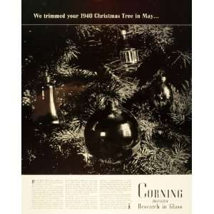 1940 Ad Corning Glass Christmas Tree Ornaments Ball   Original Print