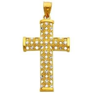 14K Two Tone Gold Religious Cross Charm Pendant GoldenMine Jewelry