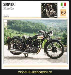 1936 SIMPLEX 500 Ala dOro MOTORCYCLE Picture SPEC CARD