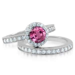 Milgrain Natural Pink Sapphire Diamond Engagement Wedding Ring Bridal