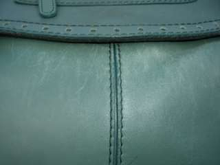 RAFE Blue Green Large Leather Satchel Shoulderbag Purse