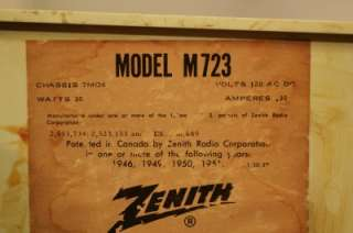 Vintage ZENITH AM/FM Radio model M723 circa 1959 works & looks great