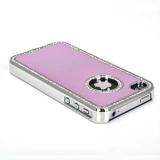 Luxury Light Pink Bling Aluminium Diamond Case Cover iPhone 4 4S 4G