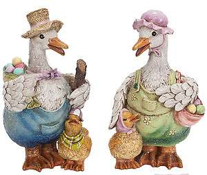 Resin Father Mother Duck Duckling Figure Easter Egg Basket Spring 8