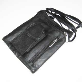 Black Cowhide Leather Passport Travel Phone Bag Pouch