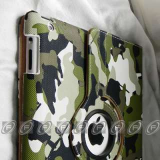 iPad 2 Leopard Style 360° Rotating PU Leather Smart Cover Case with
