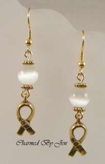 LUNG CANCER Awareness Cats Eye Earrings w/ HOPE Charms
