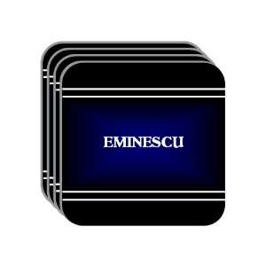 Personal Name Gift   EMINESCU Set of 4 Mini Mousepad Coasters (black