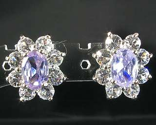 Oval Cut Purple Tanzanite White Gold GP Stud Earrings