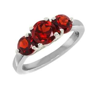 2.26 Ct 3 Stone Round Red Garnet 925 Sterling Silver Ring