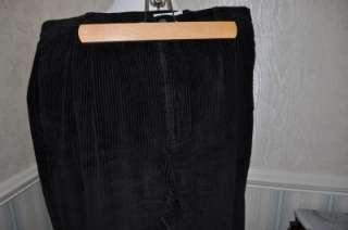 Eddie Bauer Womens Pants SIZE 16 Black Widewale Corduroy Cuffed 100%