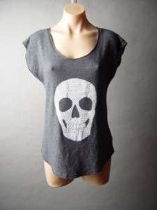 Studded Skull Graphic Print Punk Rock Edgy Goth Tee Top Shirt L