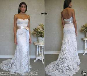 Ivory Strapless Lace Wedding Dress Bridal Gown Stock Size 6 8 10 12 14