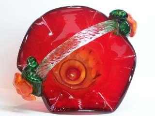 Hand Blown Ruby Red Studio Art Glass Handle Basket Fabricated Flower