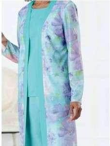 evening dress party suit 3PC Duster pant set plus size 22W,1X 2X