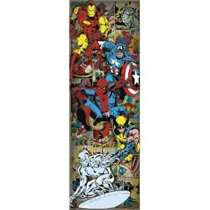 Heroes Retro   Comic Door Poster (Iron Man, Captain America, Spider