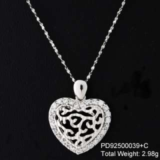 Sterling Silver Heart, Ring or Flower CZ Necklace ~18