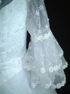 New Tulle Long Sleeves Wedding Gown Dress sz 20 Whites