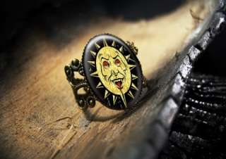Evil Sun Devil Gothic Vampire Art Horror Ring