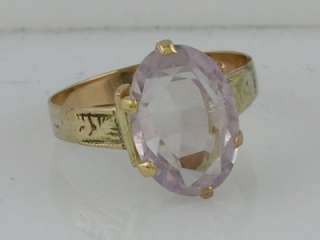 ANTIQUE VICTORIAN 10K GOLD PINK STONE RING ORNATE WIDE BAND RING