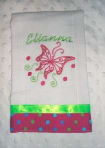 New Handmade Pink Baby Girl Personalized Burp Cloth