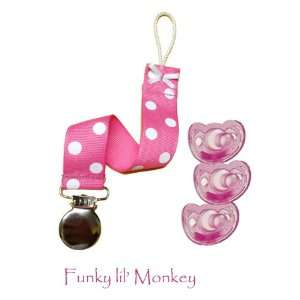 3 Gumdrop Pacifiers and 1 Polka Dotted Pink Clip Baby