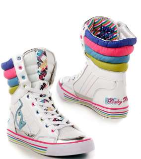 BABY PHAT MILAN CAT HI WHITE SNEAKERS TRAINERS BOOTS
