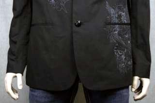 Ed Hardy Mens Pirate Skull Rhinestone Black Blazer New