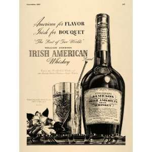 1937 Ad William Jameson Irish Whiskey Liquor Glass Flower