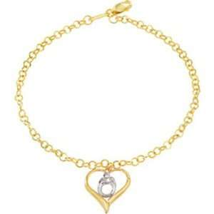 Gold Heart Shaped Mother and Child Bracelet by Janel Russell Jewelry