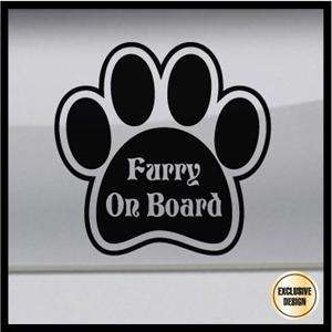 Furry On Board Furry Fandom Paw Sticker, Animal Dog