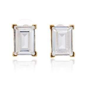 Kenneth Jay Lane   Gold Crystal Emerald Cut Stud Earring