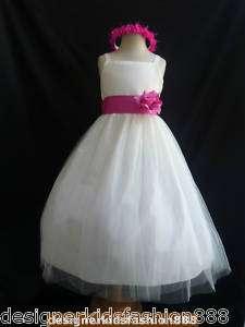 RB2 Ivory fuschia sash bridal PARTY flower girl dress