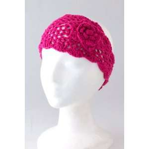 Fashion Hair Accessory ~ Pink Fuchsia Rose Knit Headwrap