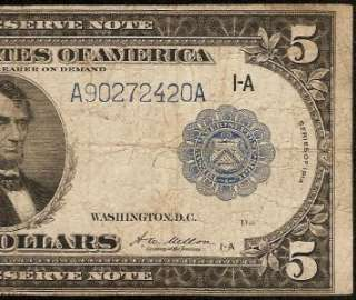LARGE 1914 $5 DOLLAR BILL FEDERAL RESERVE NOTE CHICAGO Fr 847A OLD