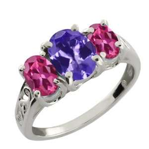 Oval Blue Tanzanite and Pink Tourmaline 10k White Gold Ring Jewelry