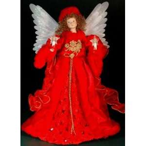 Animated Red Fiber Optic Angel Christmas Tree Topper 18