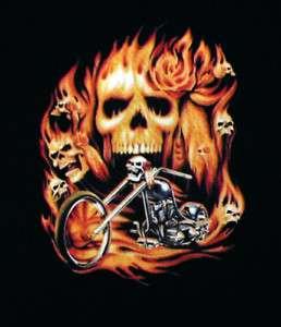 Biker Through Hell Bike Flaming Skulls T Shirt