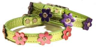 Dog Pet Puppy Metallic Pink Green Flower Leather Collar