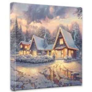 Thomas Kinkade   Christmas Lodge Canvas Wrap