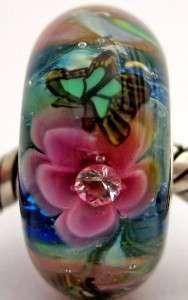 OCEANSIDE ROSES sterling silver core european charm lampwork glass