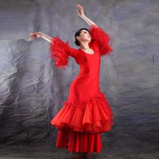 NEW Latin Ballroom Flamenco Dance Dress #HB112 Red