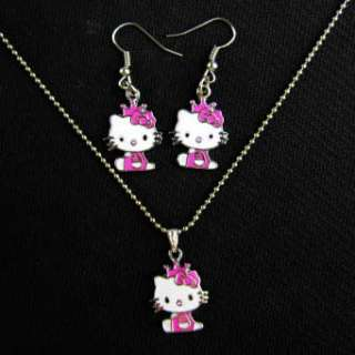 New HelloKitty Girls Mini Necklace with Earring Gift Pink Crown Dress