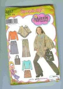 Simplicity 4897 Pattern Girls Skirt Pants Poncho Knit Top Size 8 10 12